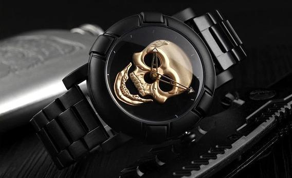 Relógio Pulso Skmei Original Caveira Crânio 3d Dourado