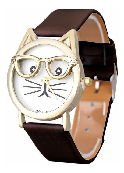 Relogio Adulto Infantil Barato Gato Oculos Cor Preta Ad1087