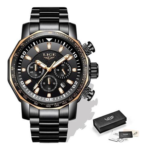 Relógio Masculino Lige 9871 Original Aço Inox Preto
