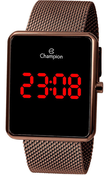 Relógio Champion Quadrado Digital Ch40080r Marrom