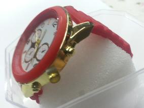 Relógio Feminino Caixa Dourada Pulseira Acabamento Vermelho
