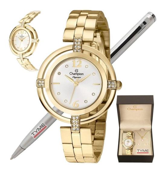 Kit Relógio Champion Feminino Dourado Com Semi Jóia - C/ Nfe