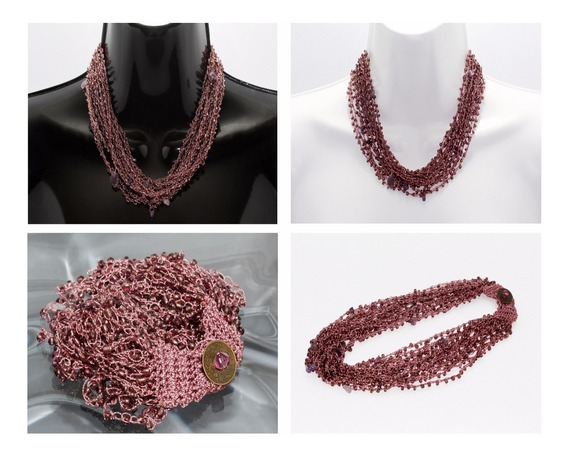 Collar Piedra Natural Dama Joyeria Amatista Chaquira Ccpn126