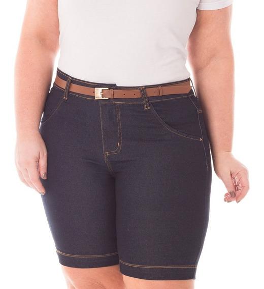 Bermuda Jeans Com Elastano Para Gordinha Moda Grande Bdj130