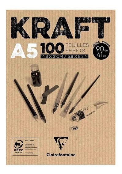Bloco De Papel Kraft A5 90gr Clairefontaine 100 Folhas