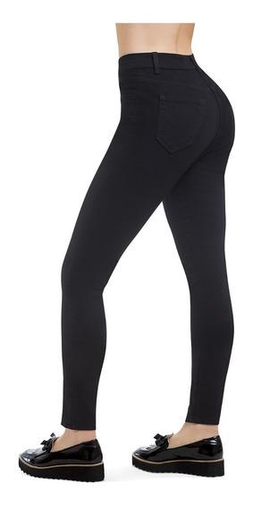 Jeans Skinny Super Stretch Tiro Alto Negro Liso Devendi