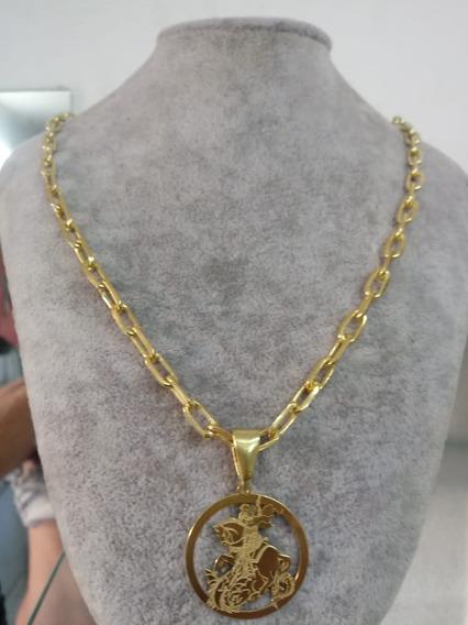 Cordao De Prata Banhado A Ouro São Jorge!!!