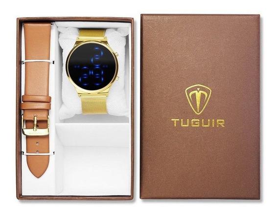 Relógio Feminino Digital Dourado E Couro Original Pulseira