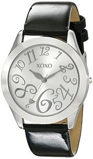 Xoxo Xo3177 Plata Dial Negro Correa De Patente Reloj