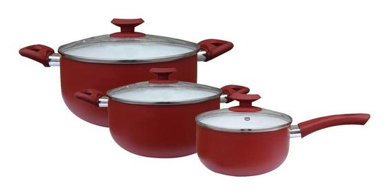 Set Bateria X3 Pzas Porcelana Rojo Cerámica Olla Sarten Tv