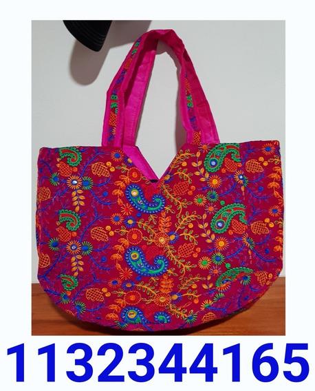 Vendo Bolso Grande Con Cierre Color Fucsia Con Bordados