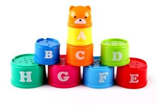 Tazas Apilables Juguete De Colores Para Bebe Juego Letras Y Números Didáctico Estimulación Motriz Destreza Set 9 Piezas