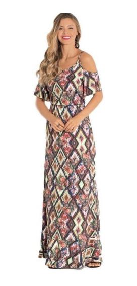 Vestido Ciganinha Longo Alças Vazadas Social Plus Size