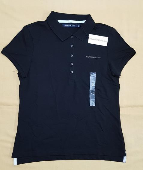 Camisa Polo Calvin Klein Ck Para Dama Talla Grande Negra