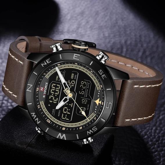 Relógio Naviforce Original Luxo Pulseira De Couro 9144