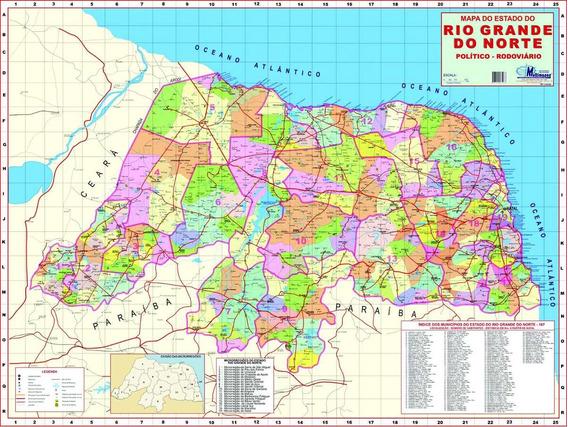 Mapa Estado Rio Grande Norte-político 117 X89cm-frete Grátis