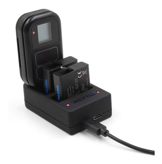 Carregador 3 Em 1 Baterias E Controle Gopro Hero4 Hero7 6 5