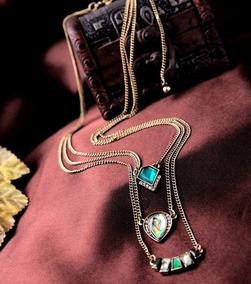 Collares Colgantes De Tres Capas Imitacion Esmeralda