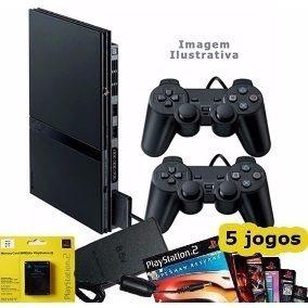 Playstation 2 Ps2 Play2 + 2 Controle+ 5 Jogos Play Garantia