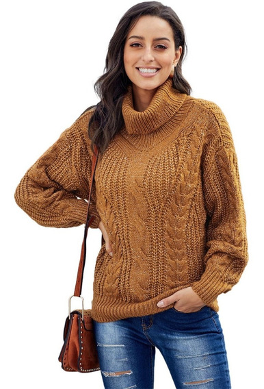 Suéter Jersey De Punto Grueso Cuello Alto Manga Larga St026