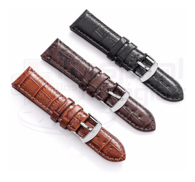 Pulseira Couro Preta Marrom Hav 16 18 20 22 24 26 28mm Croco