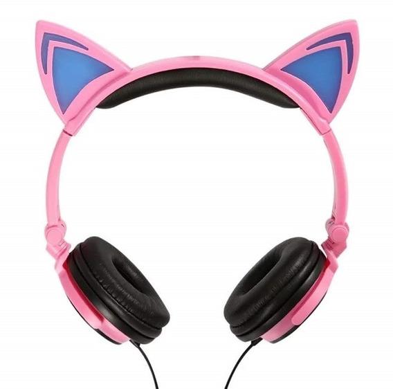 Headphone Fone Orelha Gato Com Led Exbom