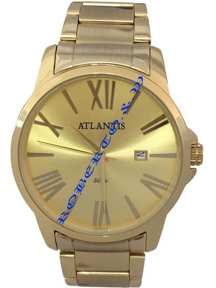Relógio Masculino Atlantis Dourado Calendário Frete Gratis