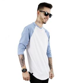 Camiseta Longline Oversized Raglan 3/4 Básica 100% Algodão