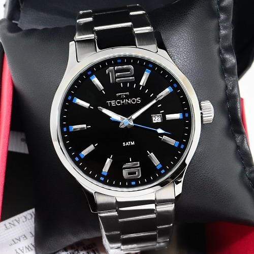 Relógio Technos Masculino Detalhe Azul Ou Vermelho Original