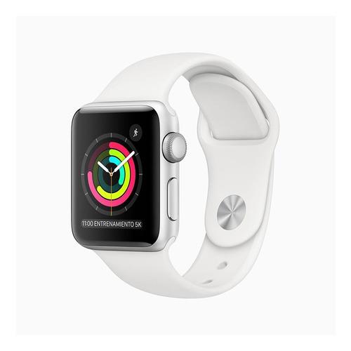 Imagen 1 de 6 de Apple Watch  Series 3 (GPS) - Caja de aluminio plata de 38 mm - Correa deportiva blanco