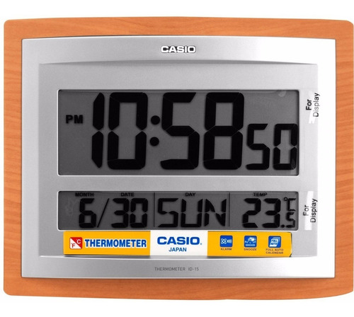 Reloj Digital Casio Pared Y Mesa Id-15 Termometro Calendario
