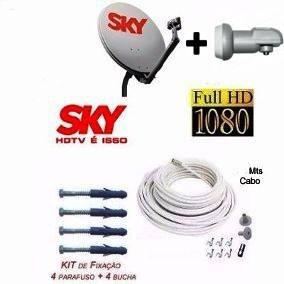 Antena Ku 60 + Lnbf Duplo+ 20mts Cabo + Conectores