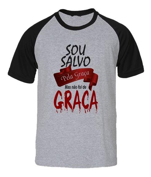 Camisa Camiseta Raglan Gospel Evangélica Salvo Pela Graça