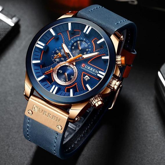 Relógio Curren Masculino De Luxo Original Top Funcional