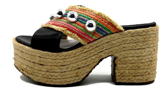 Zapatos Sandalias Cuero Mujer Negro Taco Urbanas Leblu 905