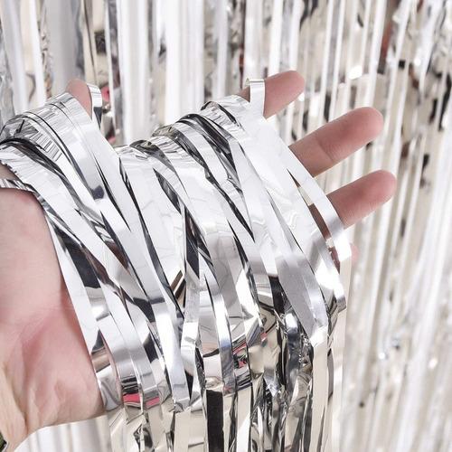 Cortina Metalizada Plateda Piñata Fiesta Decoración Plata
