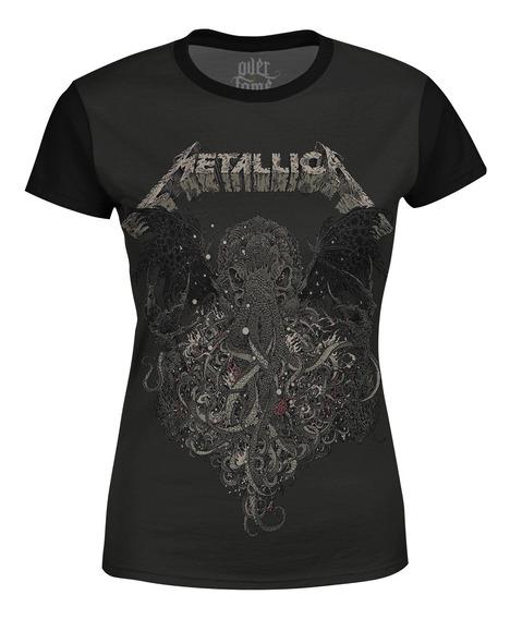 Camiseta Baby Look Feminina Metallica Estampa Digital Md02