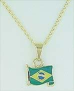 Gargantilha C/ Pingente Forma Da Bandeira Do Brasil