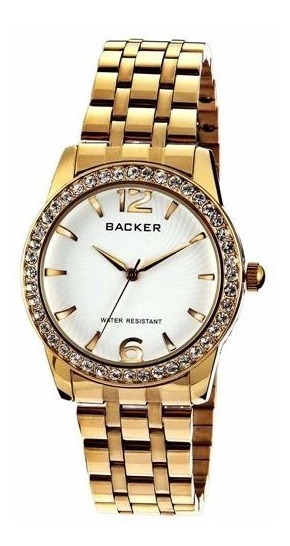 Relógio Backer 3001145 Caixa Pulseira Aço Dourado C/ Pedras