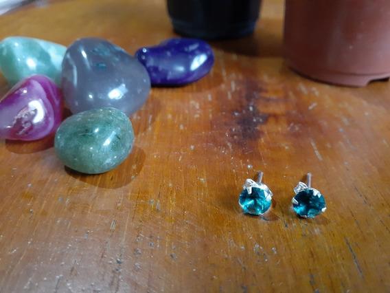 Brinco Feminino Prata 925 Zirconia Verde Pequeno