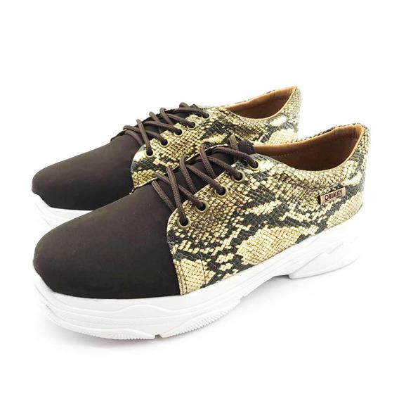 Tênis Quality Shoes Feminino Chunky Phyton Marrom