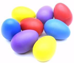 Kit Com 6 Ovinhos Ganza Shaker Colorido Chocalho Eggs