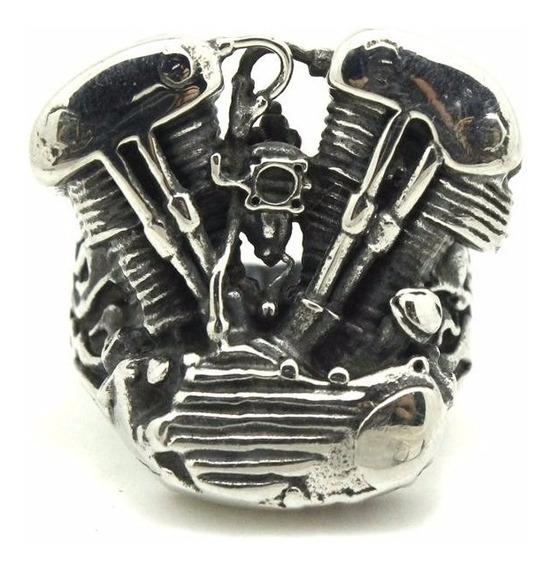Anel Em Aço Inox 316 L Motor De Moto Em V Importado Lindo!