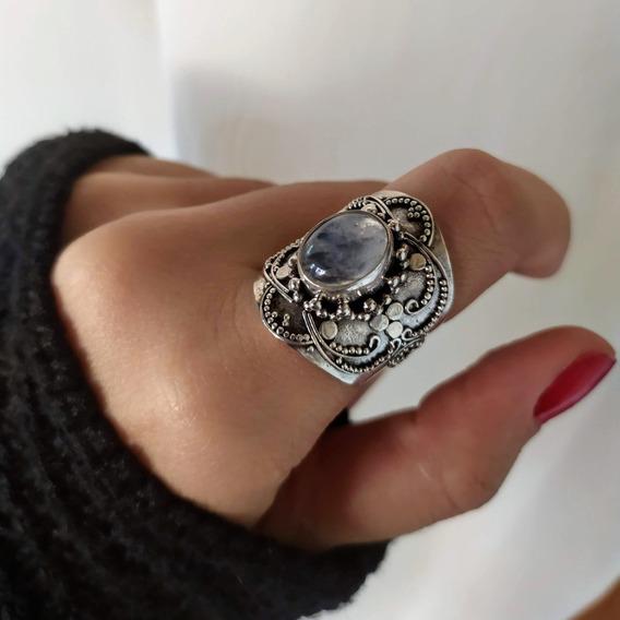 Anel Arabesco Pedra Da Lua Em Prata
