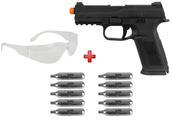 Pistola Airsoft Co2 Fn Herstal Fns-9 Full Metal+ Co2+ Óculos