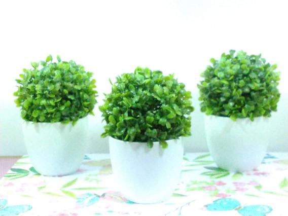 3 Mini Vasinhos Para Banheiro Buchinhos + Cachepô Verdes