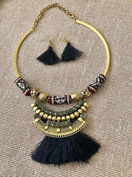 Set Collar Y Aretes Tassel Etnico Moda