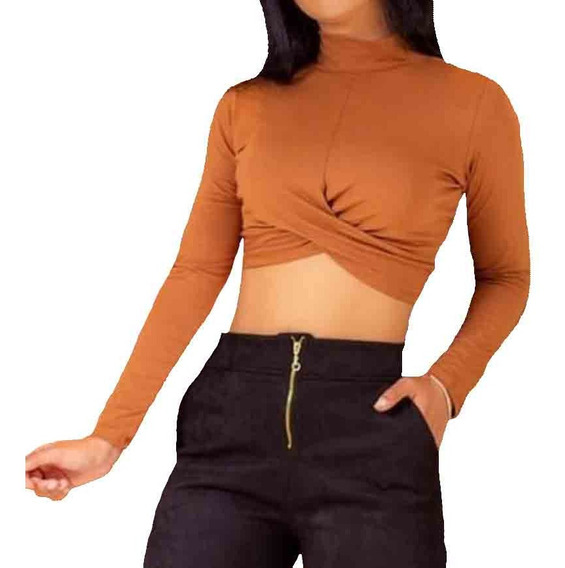 Top Cropped Manga Longa Transpassado Ref. 15494