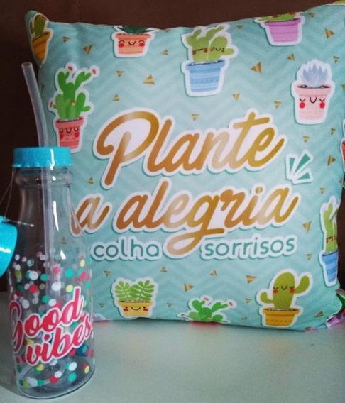 Kit Presente Almofada +garrafa Com Canudo+ Brinde -decoração