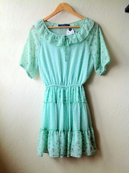 Vestido Campirano Verde Talla M Nuevo / No Limpia De Closet
